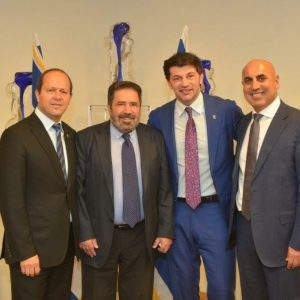 Israel and Georgia's capitals Mayors-  Mr. Kakha Kaladze and Nir Barkat with IGCC Chairman, Meni Benish and Honorary Consul of Georgia in Israel Igal Amedi